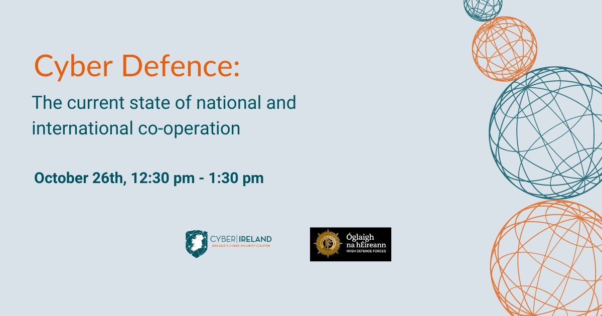 This banner shows the name and date of the Cyber Defence taking place on October 26th.